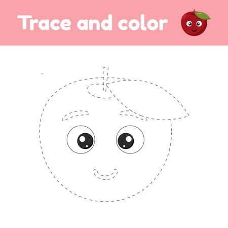 Coloring book with cute fruit apple. For kids kindergarten, preschool and school age. Trace worksheet. Development of fine motor skills and handwriting.