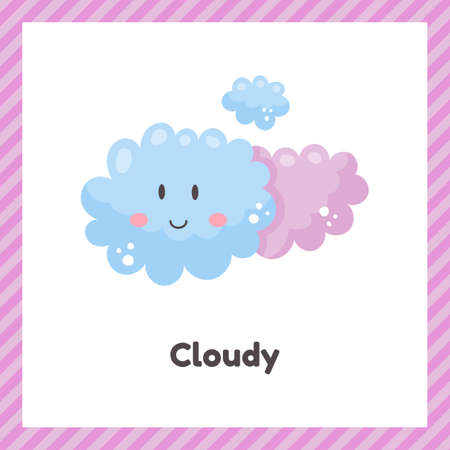 Cute weather cloudy for kids. Flash card for learning with children in preschool, kindergarten and school. 矢量图像