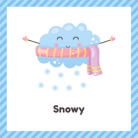 Cloud in scarf. Cute weather snowy for kids. Flash card for learning with children in preschool, kindergarten and school.