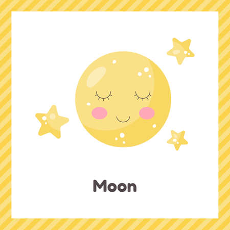 Cute weather moon for kids. Flash card for learning with children in preschool, kindergarten and school.