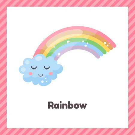 Cute weather rainbow for kids. Flash card for learning with children in preschool, kindergarten and school.