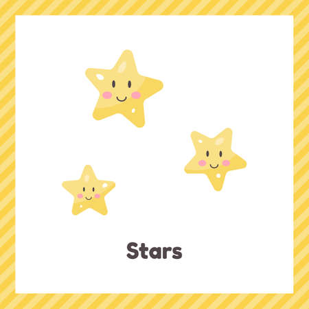 Cute weather stars for kids. Flash card for learning with children in preschool, kindergarten and school.