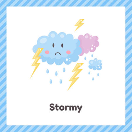 Clouds, thunderstorm. Cute weather stormy for kids. Flash card for learning with children in preschool, kindergarten and school. 矢量图像