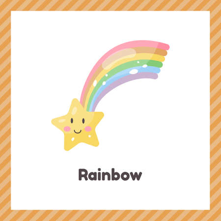 Cute weather rainbow with star for kids. Flash card for learning with children in preschool, kindergarten and school.