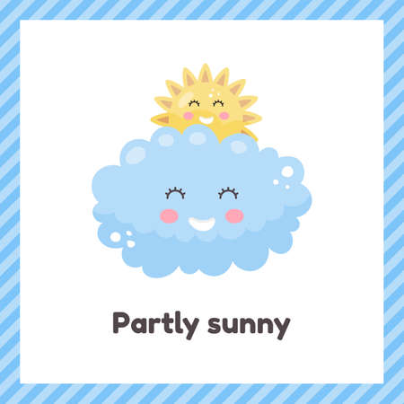 Sun and clouds. Cute weather partly sunny for kids. Flash card for learning with children in preschool, kindergarten and school.