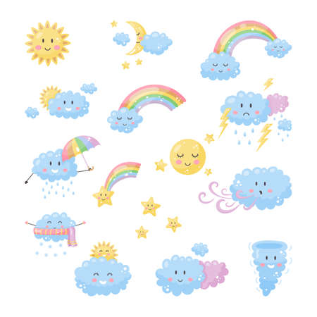 Set cute weather for kids. Sun, moon, clouds, rainbow, stars.