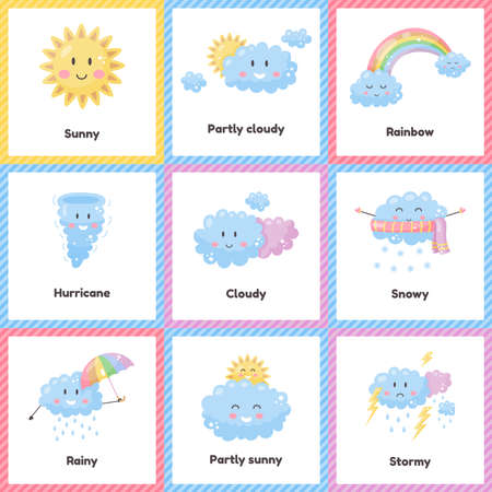 Set cute weather for kids. Sunny, cloudy, rainbow, rainy, snowy, stormy, hurricane. Flash card for learning with children in preschool, kindergarten and school.