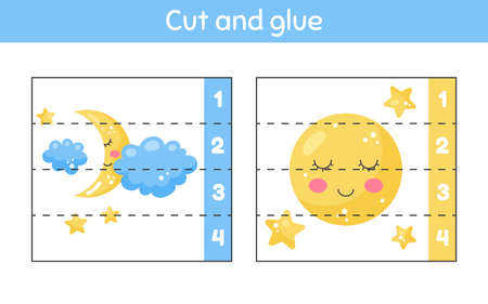 Cut and glue. Learning numbers. Worksheet for kids kindergarten, preschool and school age. Cute weather. Moon and cloud.