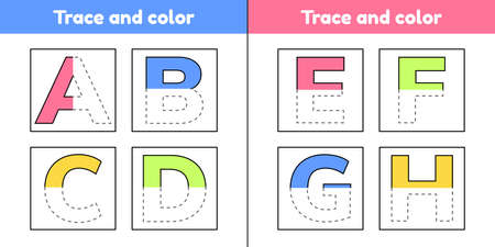 Trace letters for kindergarten and preshool kids. Write and color. Vector Illustration.