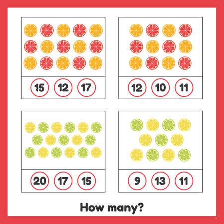 Vector illustration. How many fruits. Lemon, orange, grapefruit, lime. Worksheet for kids kindergarten, preschool and school age. Learning numbers. Counting game.