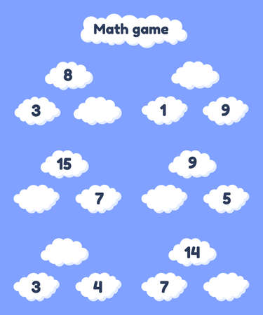 Vector illustration. Math game on addition for preschool and school age children. Fill the missing numbers. Clouds.  イラスト・ベクター素材
