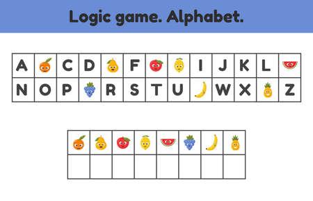 Vector illustration. Logic game. Alphabet. What letters are missing. Worksheet for kids kindergarten. preschool and school age. Fruits.  イラスト・ベクター素材