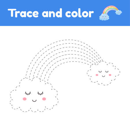 Coloring book with cute rainbow. For kids kindergarten, preschool and school age. Trace worksheet. Development of fine motor skills and handwriting. Vector illustration.