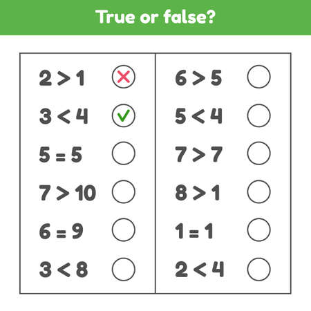 True or false. More, less or equal. Educational math game for kids preschool and school age. Vector illustration.