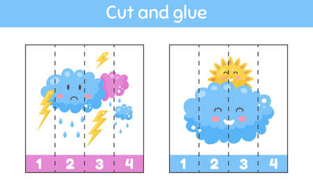 Vector illustration. Cut and glue. Learning numbers. Worksheet for kids kindergarten, preschool and school age. Cute weather. Partly cloudy, thunderstorm.