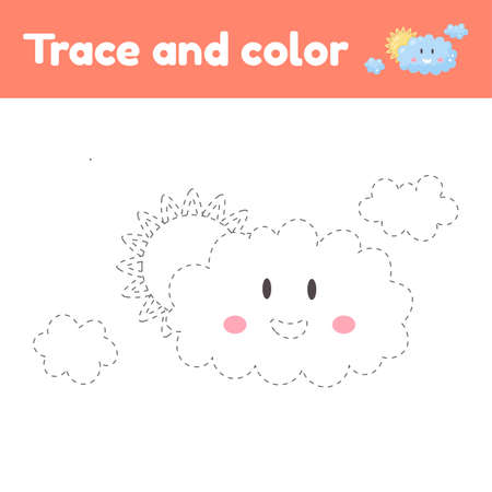 Coloring book with cute cloud. For kids kindergarten, preschool and school age. Trace worksheet. Development of fine motor skills and handwriting. Vector illustration.  イラスト・ベクター素材
