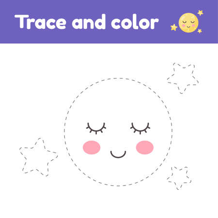 Coloring book with cute moon and stars. For kids kindergarten, preschool and school age. Trace worksheet. Development of fine motor skills and handwriting.
