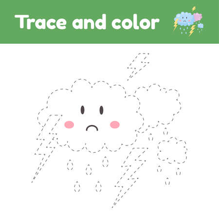 Coloring book with thunderstorm. For kids kindergarten, preschool and school age. Trace worksheet. Development of fine motor skills and handwriting.
