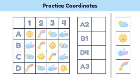 Educational math worksheet for kids kindergarten, preschool and school age. Practice coordinates.