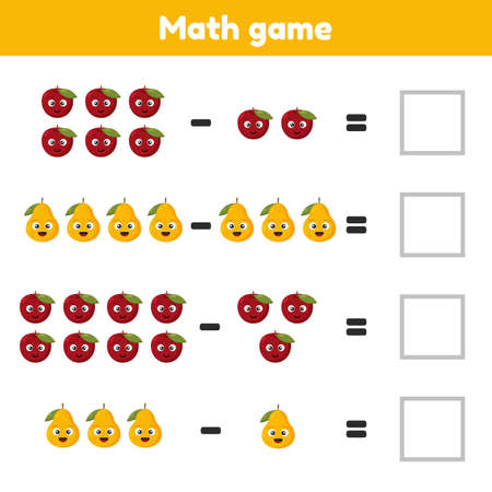 Math game for preschool and school age children. Count and insert the correct numbers. Subtraction. Fruits.