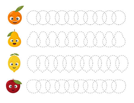 Educational tracing worksheet for kids kindergarten, preschool and school age. Trace the fruits. Dashed lines.
