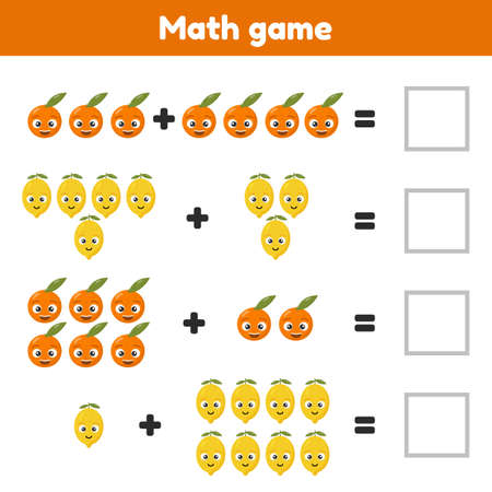 Math game for preschool and school age children. Count and insert the correct numbers. Addition. Fruits.