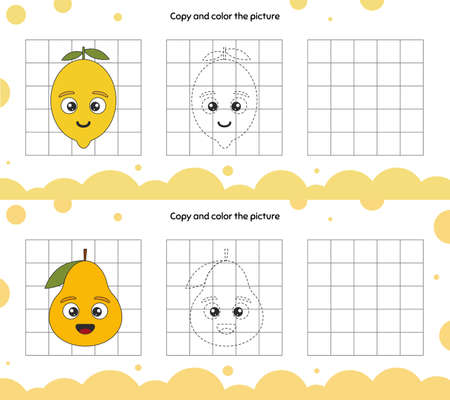Educational game for attention for children of kindergarten and preschool age. Repeat the illustration. Copy and color the picture. Fruits. Pear and lemon. Ilustração