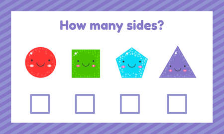 illustration. Geometric logical educational game for children of preschool and school age. How many sides