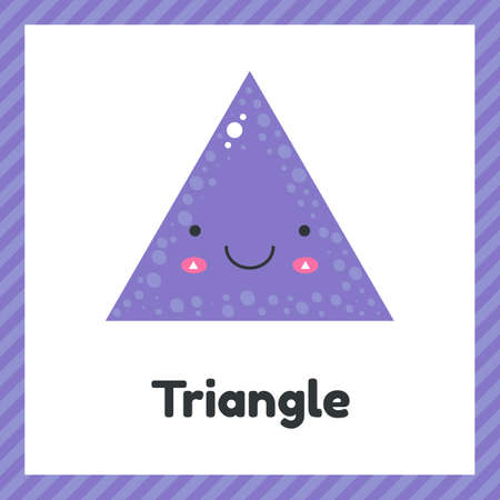 illustration. cute geometric figures for kids. Violet shape triangle isolated on white background with funny face. Imagens