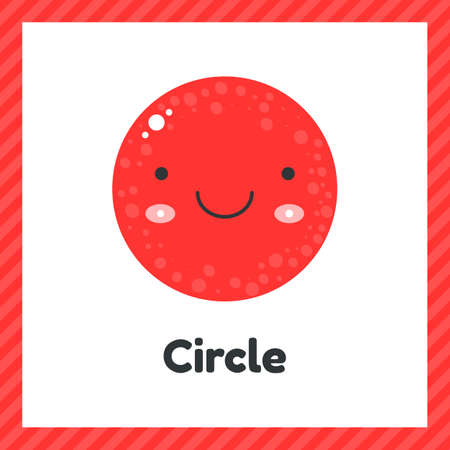 illustration. cute geometric figures for kids. red shape circle isolated on white background with funny face. Imagens