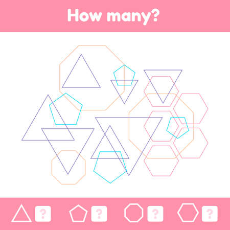 illustration. Geometric logical educational game for children of preschool and school age. How many figures