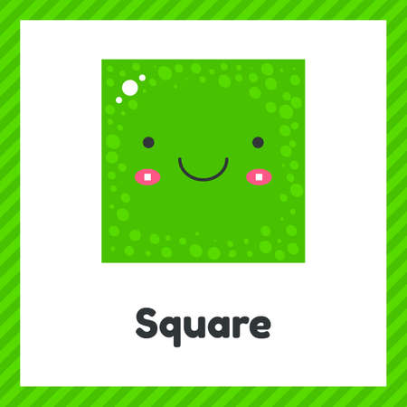 illustration. cute geometric figures for kids. Green shape square isolated on white background with funny face. Imagens