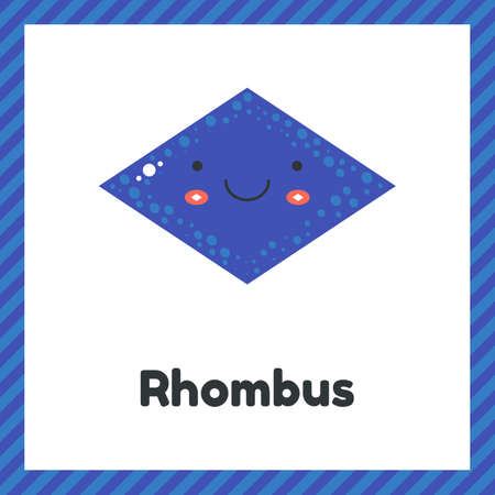 illustration. cute geometric figures for kids. Blue shape rhombus isolated on white background with funny face. Imagens