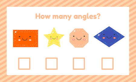 illustration. Geometric logical educational game for children of preschool and school age. How many angles Imagens