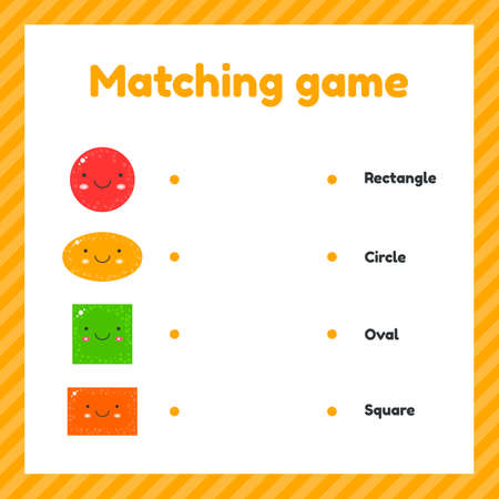 illustration. cute geometric figures for kids. Matching game.