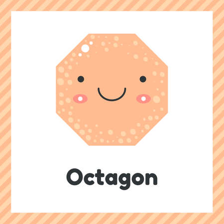 illustration. cute geometric figures for kids. Pink shape octagon isolated on white background with funny face.