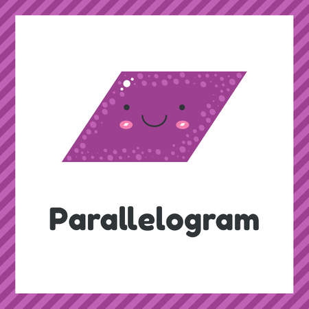 illustration. cute geometric figures for kids. Purple shape parallelogram isolated on white background with funny face.