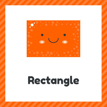 illustration. cute geometric figures for kids. Orange shape rectangle isolated on white background with funny face. Imagens