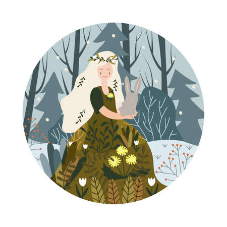 illustration. Young woman in forest. Round background. Winter and spring. Postcard Imagens