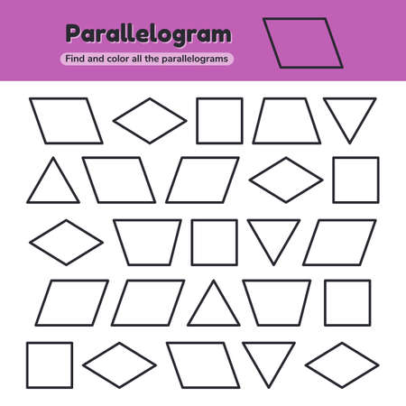 illustration. Educational worksheet for kids kindergarten, preschool and school age. Geometric shapes. Rhombus, parallelogram, triangle, square, trapezoid Find and color