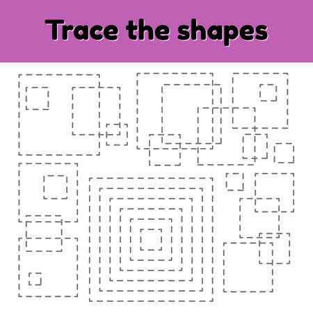 illustration. Educational tracing worksheet for kids kindergarten, preschool and school age. Trace the geometric shape. Dashed lines. Square.