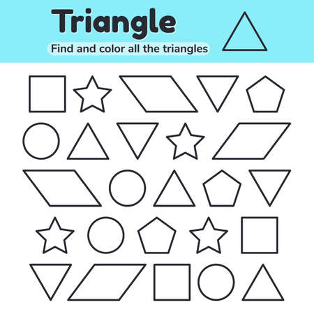 illustration. Educational worksheet for kids kindergarten, preschool and school age. Geometric shapes. Triangle, star, circle, pentagon, parallelogram square Find and color