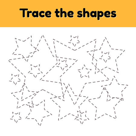 illustration. Educational tracing worksheet for kids kindergarten, preschool and school age. Trace the geometric shape. Dashed lines. Star.