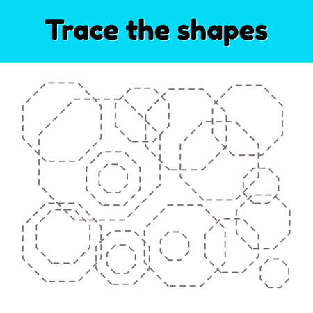 illustration. Educational tracing worksheet for kids kindergarten, preschool and school age. Trace the geometric shape. Dashed lines. octagon.