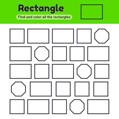 illustration. Educational worksheet for kids kindergarten, preschool and school age. Geometric shapes. Rectangle, square, octagon. Find and color.