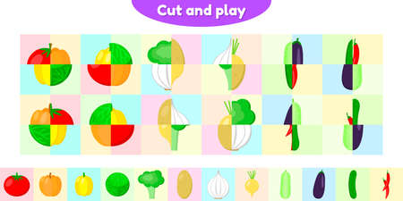 illustration. Educational game for preschool and school age children. Cut and collect correctly. Vegetable. Puzzle for kids.