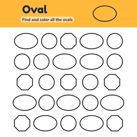 illustration. Educational worksheet for kids kindergarten, preschool and school age. Geometric shapes. Oval, circle, octagon. Find and color. Imagens