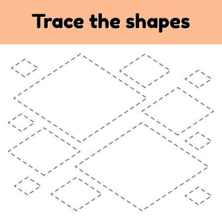 illustration. Educational tracing worksheet for kids kindergarten, preschool and school age. Trace the geometric shape. Dashed lines. Rhombus.
