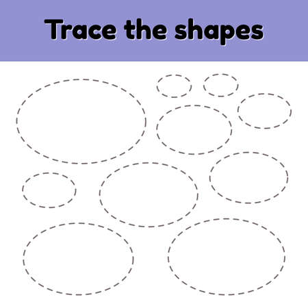 illustration. Educational tracing worksheet for kids kindergarten, preschool and school age. Trace the geometric shape. Dashed lines. Oval.