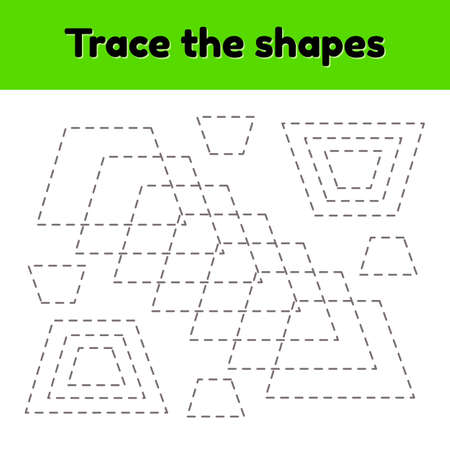 illustration. Educational tracing worksheet for kids kindergarten, preschool and school age. Trace the geometric shape. Dashed lines. Trapezoid. Imagens